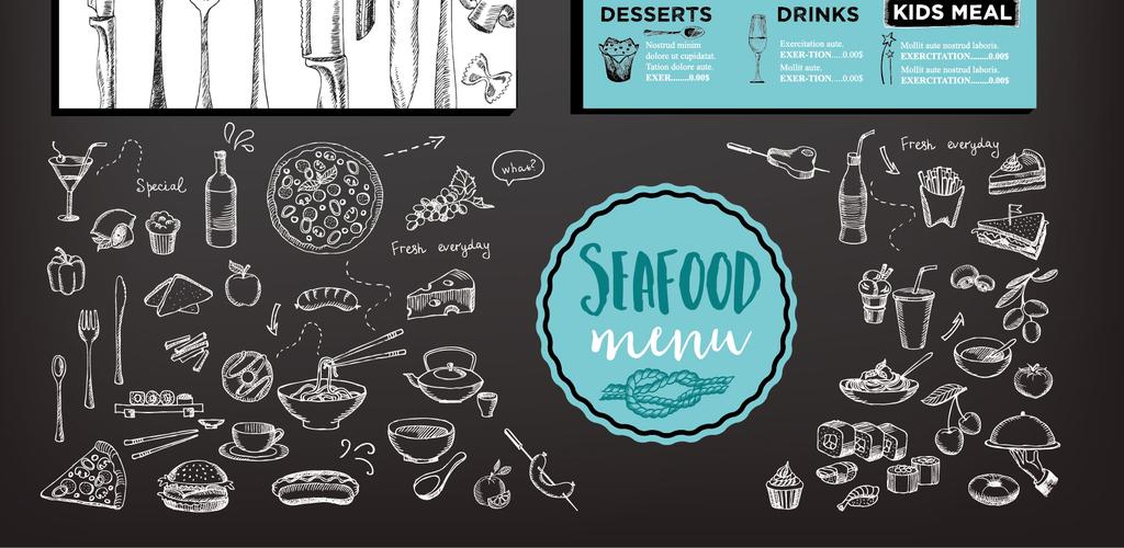 2017欧美复古手绘海鲜餐厅菜单模.