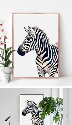 简约动物斑马绘画装饰画