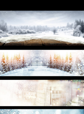 冬季雪景卡通画矢量分层素材图片 psd模板下载 33.14MB 其他大全 自然