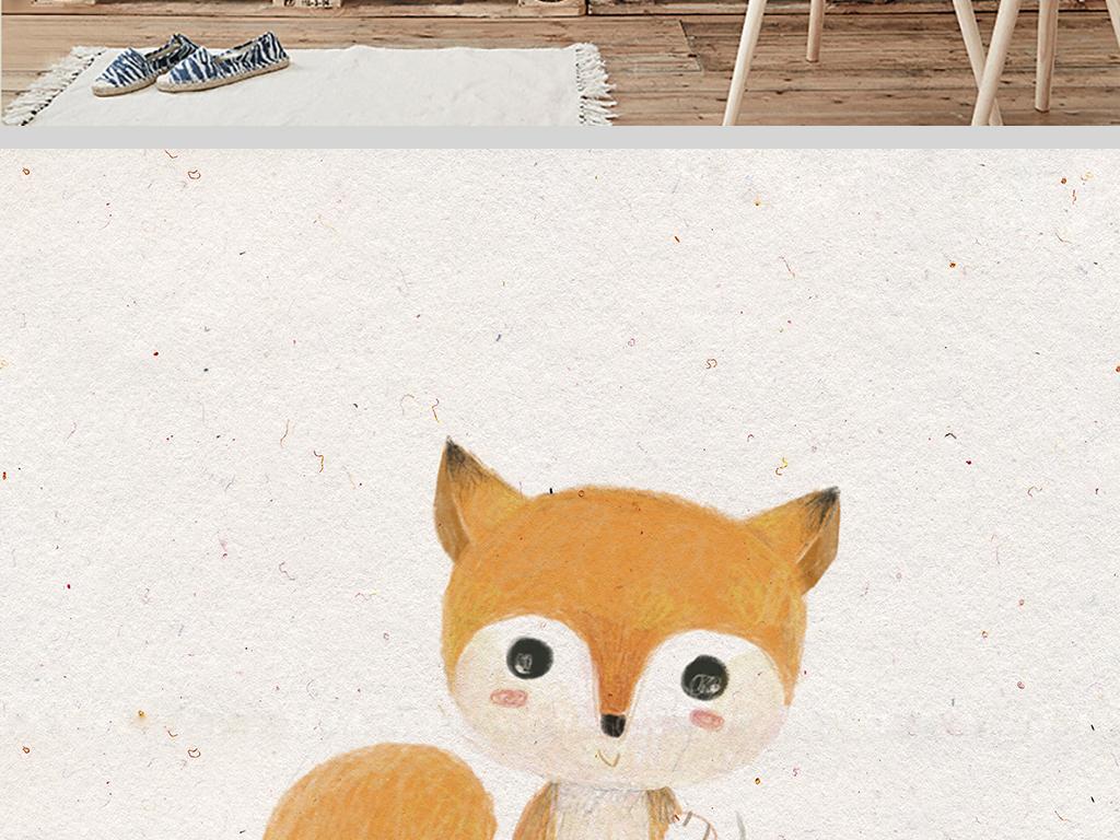 3款森系手绘可爱小动物装饰画
