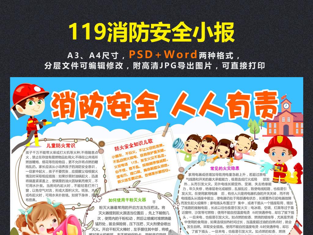 小学生校园安全手抄报119消防知识宣传小报模板图片 psd设计图下载