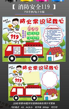 消防119安全校园防火安全知识教育手抄报小报-消防安全标识图片素材