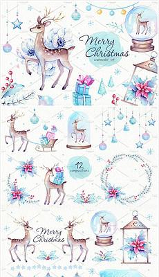 圣诞剪贴画图片素材下载 圣诞剪贴画背景素材 圣诞剪贴画模板下载