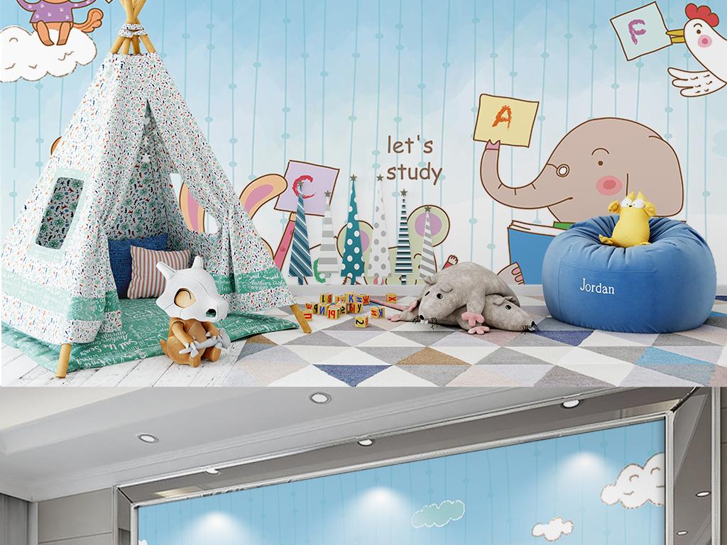 卡通儿童背景墙手绘小动物熊儿童房背.
