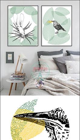 北欧风格手绘动物无框画装饰画植物插画