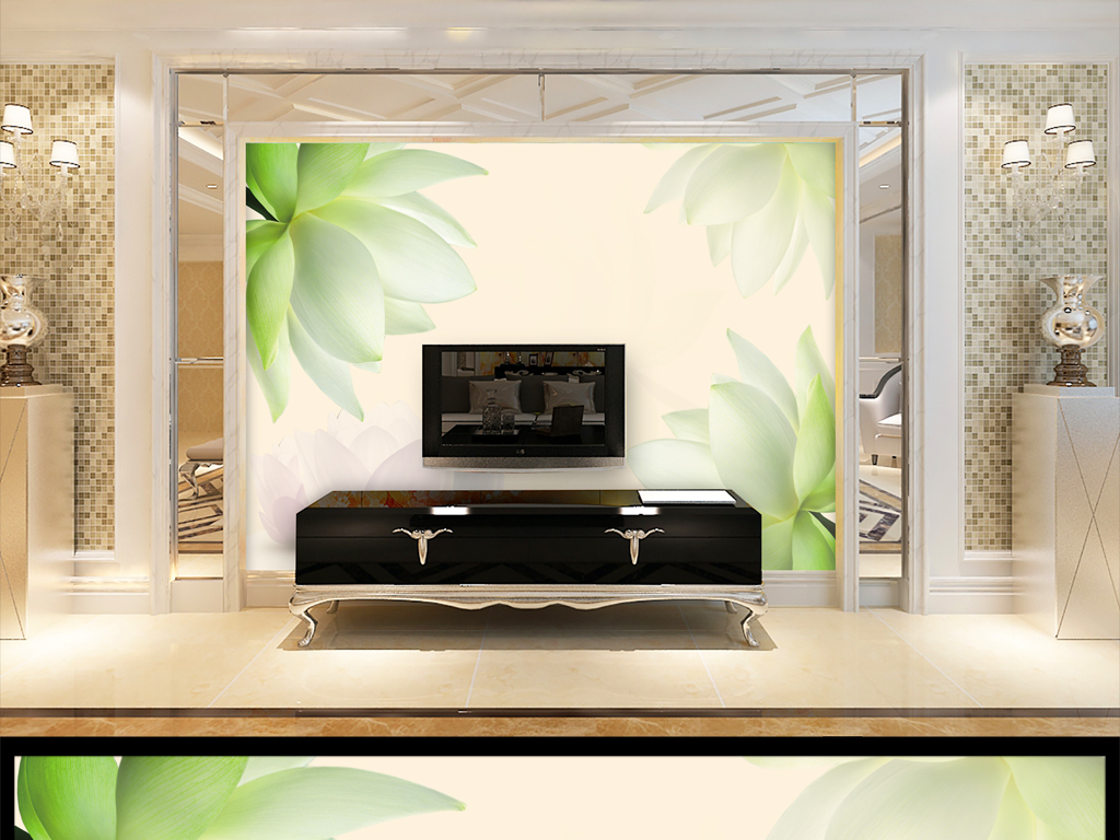 高档荷花壁画电视背景墙设计图片素材 效果图下载 3D电视背景墙图大全 电视背景墙编号 17154559