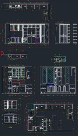 一套实木橱柜吧台设计CAD图纸