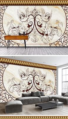 3D复古工业风背景墙绘图片 3D复古工业风背景墙绘素材下载 我图网图片