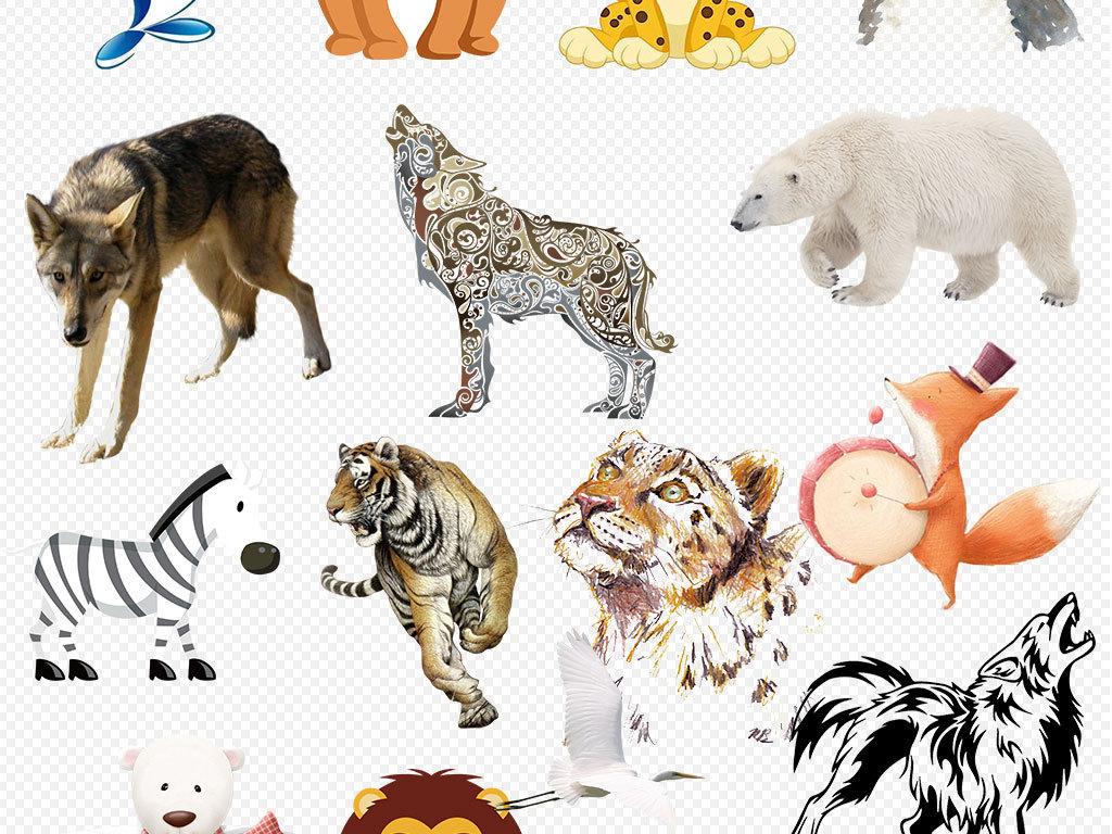 北欧风情手绘唯美卡通动物素材
