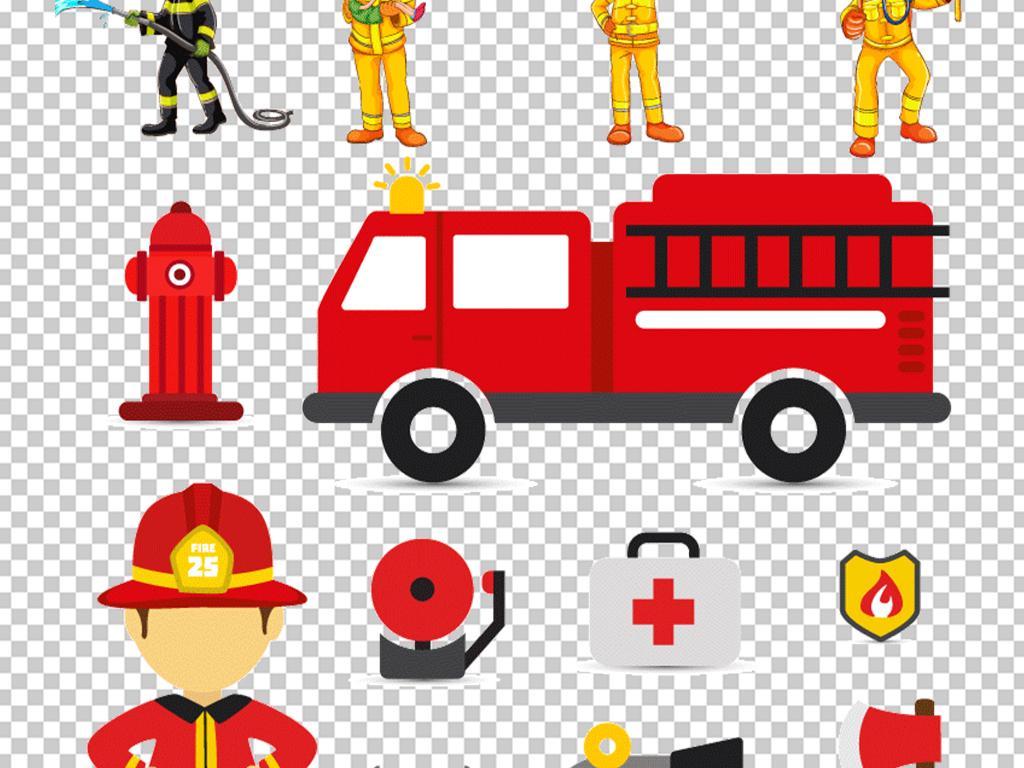 卡通消防安全矢量消防车员灭火器设计素材