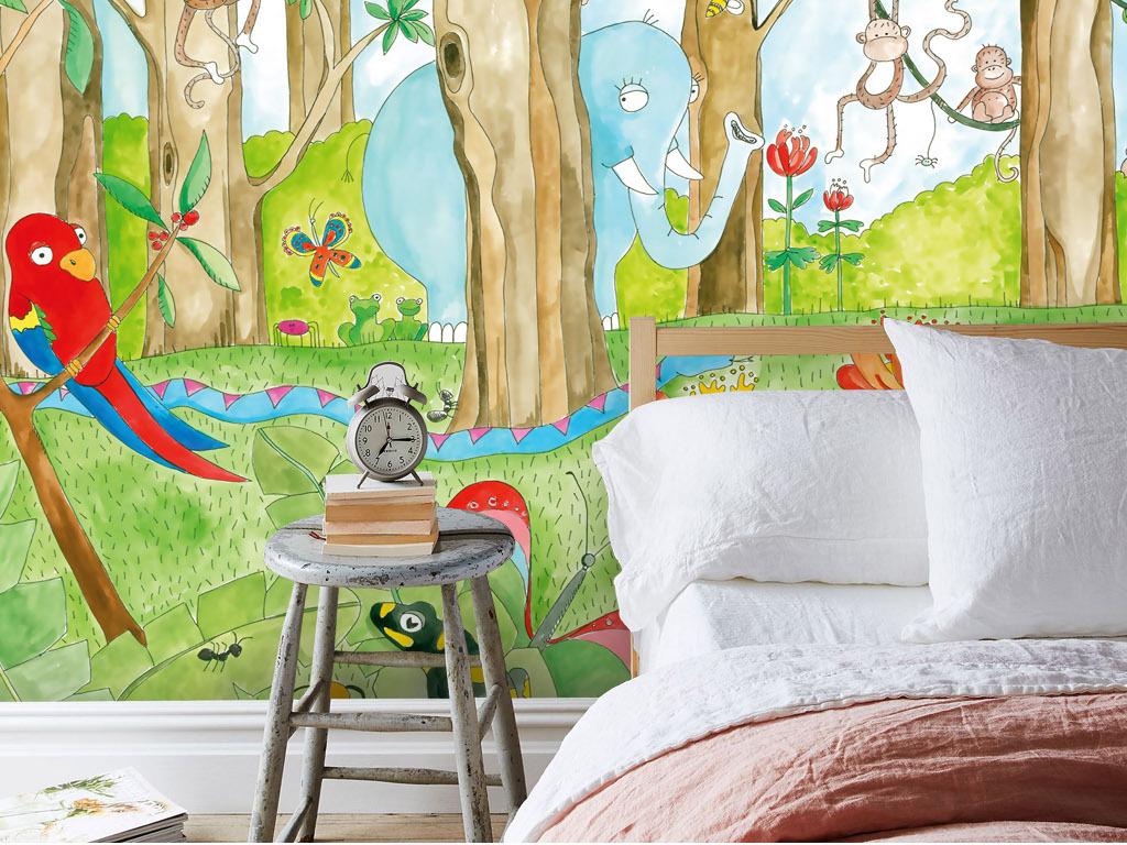 北欧风手绘森林风景动物卡通背景墙壁纸壁画图片设计素材 高清模板下