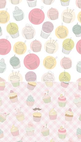 cupcake格子桌布矢量-手机桌布图片素材 psd模板下载 44.89MB 动漫