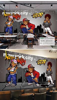 古手绘嘻哈街头涂鸦酒吧KTV背景墙-手绘街头图片素材 手绘街头图图片