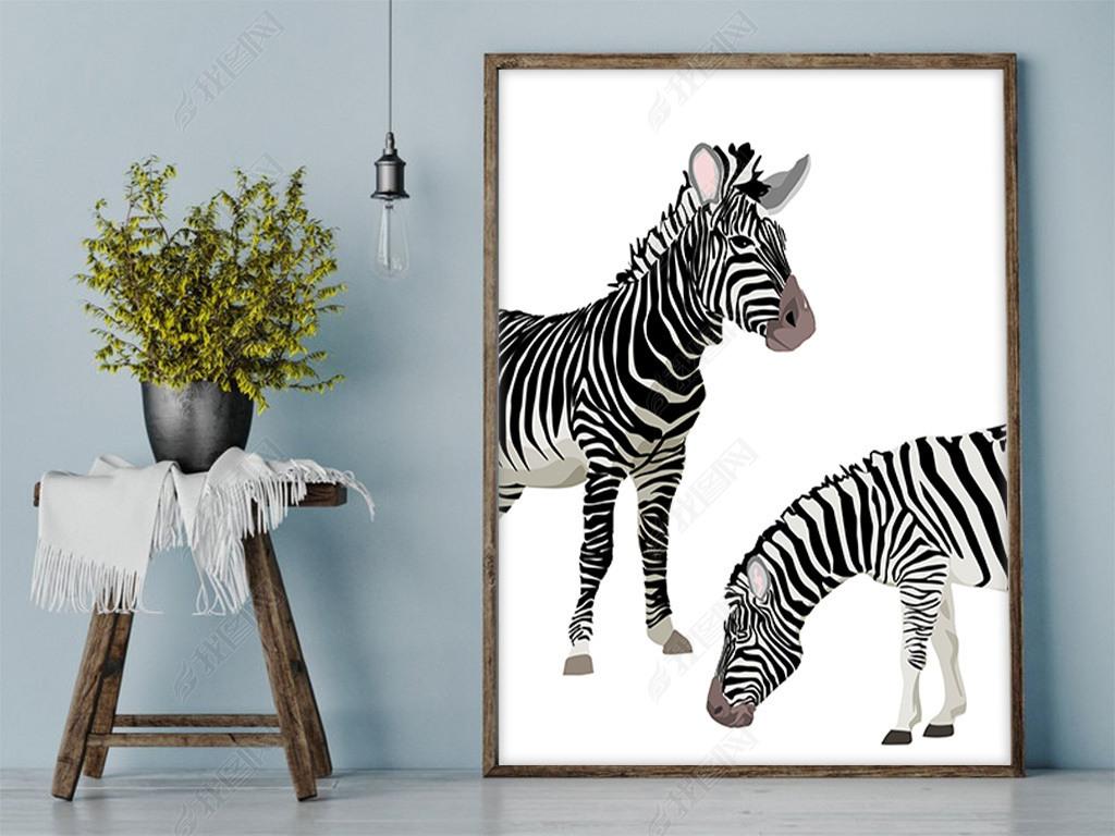 北欧简约黑白手绘斑马动物装饰画图片下载
