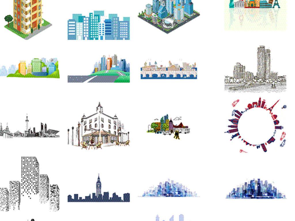 ai1城市建筑明城市风景大城市剪影图片