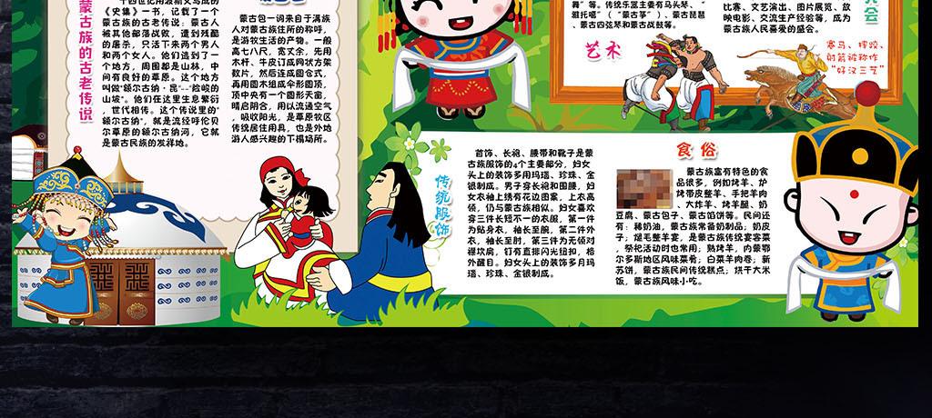 蒙古族小报56个少数民族风俗线描手抄小报素材图片 psd模板下载 114.