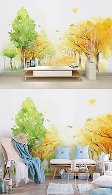 现代简约手绘树林背景墙壁纸-冬季卡通背景图片 冬季卡通背景素材下