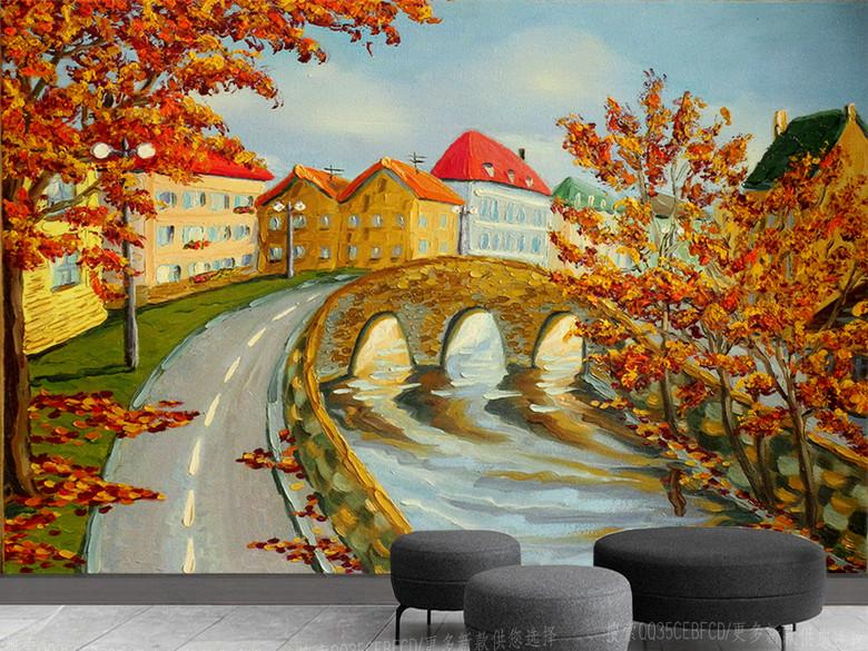 北欧小镇秋天风景