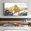 新中式抽象金色雪山抽象现代北欧装饰画