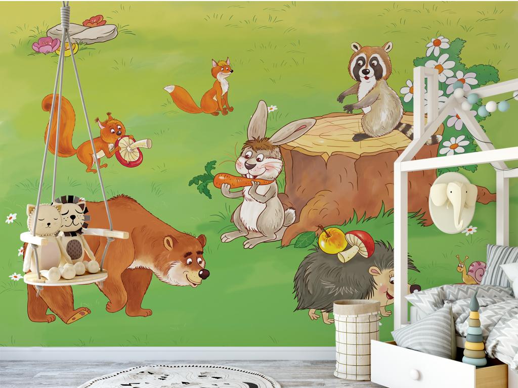 手绘卡通动物儿童房背景墙壁纸壁画