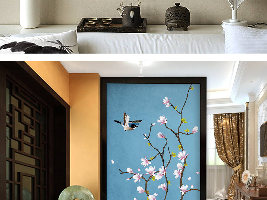 玉兰新中式工笔花鸟玄关背景墙装饰画图片