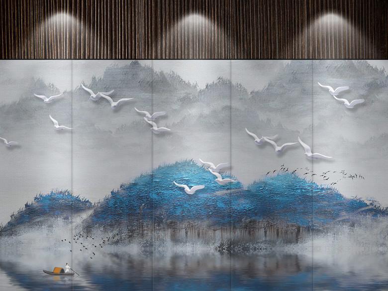 新中式抽象水墨山水立体油画飞鸟电视背景墙