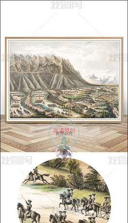 手绘欧式美式中世纪西洋画背景墙装饰画油画图片下载