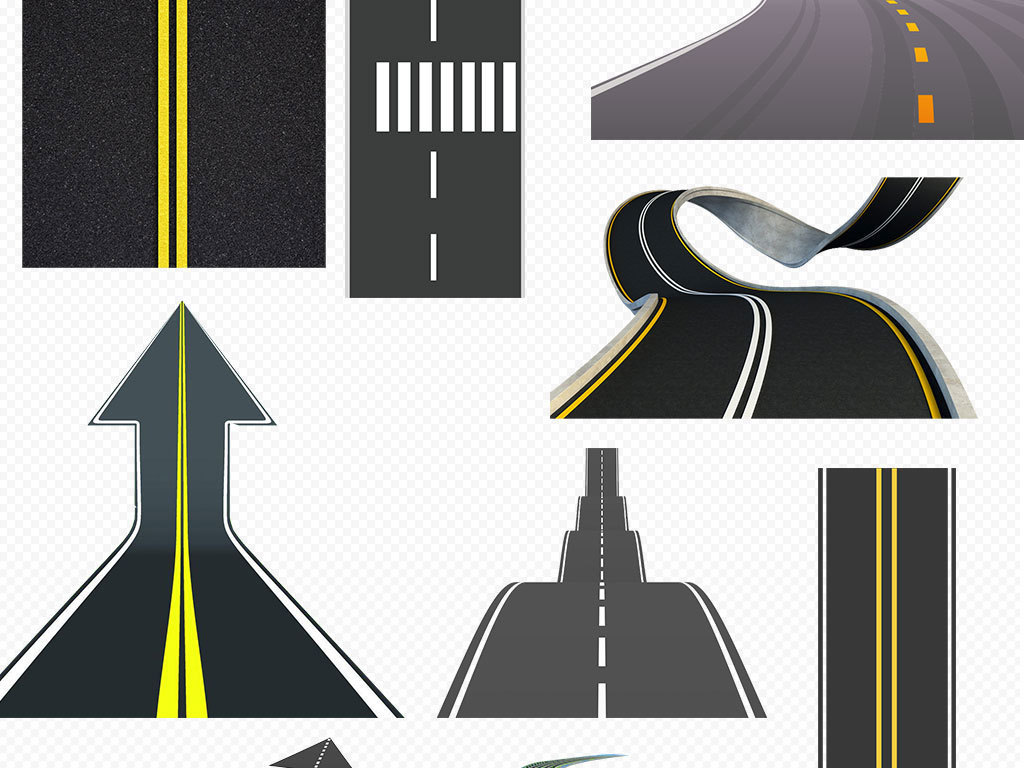 城市道路马路公路路线素材设计元素