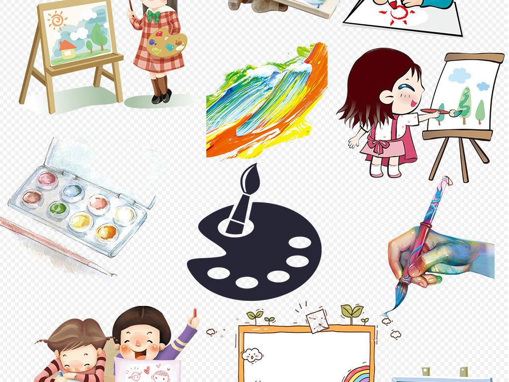 卡通儿童学习画画美术png设计