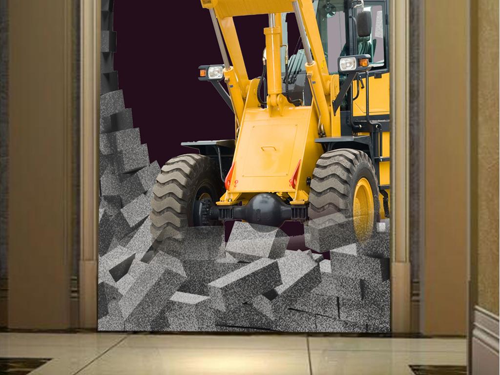 3D图纸挖掘机复古工装电路34006886玄关立体图片