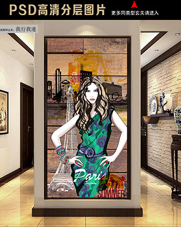 3D木板背景手绘服装店模特工装玄关-PSD休闲装模特 PSD格式休闲