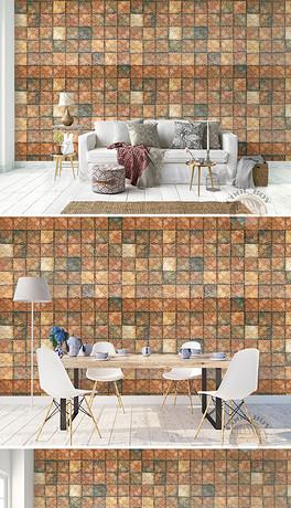 现代简约方块材质木纹手绘图案背景墙壁画-TIF不分层客厅手绘图 TIF