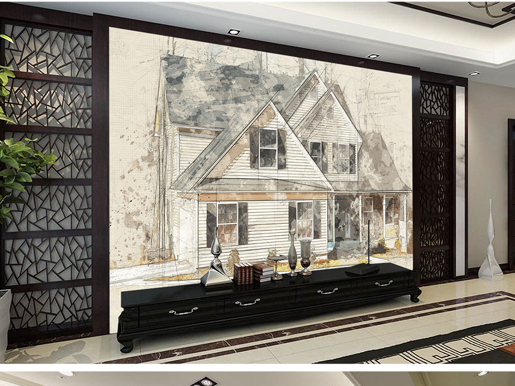 欧式手绘别墅符号简约化工背景墙图纸图纸房屋图管道图片