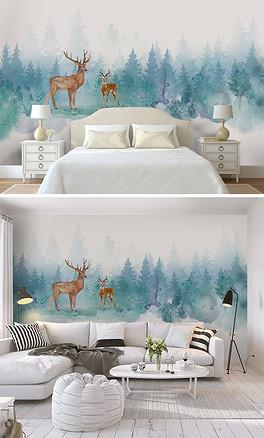 北欧风水彩手绘麋鹿森林儿童房背景墙壁纸壁-PSD森林儿童 PSD格式