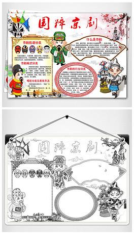 中国风京剧小报戏曲艺术文化国粹小报电子手抄报-PSDPS京剧脸谱
