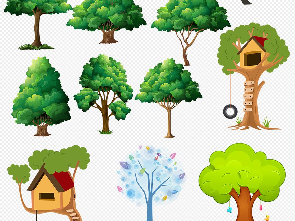 手绘卡通大树树木设计元素免扣素材透.