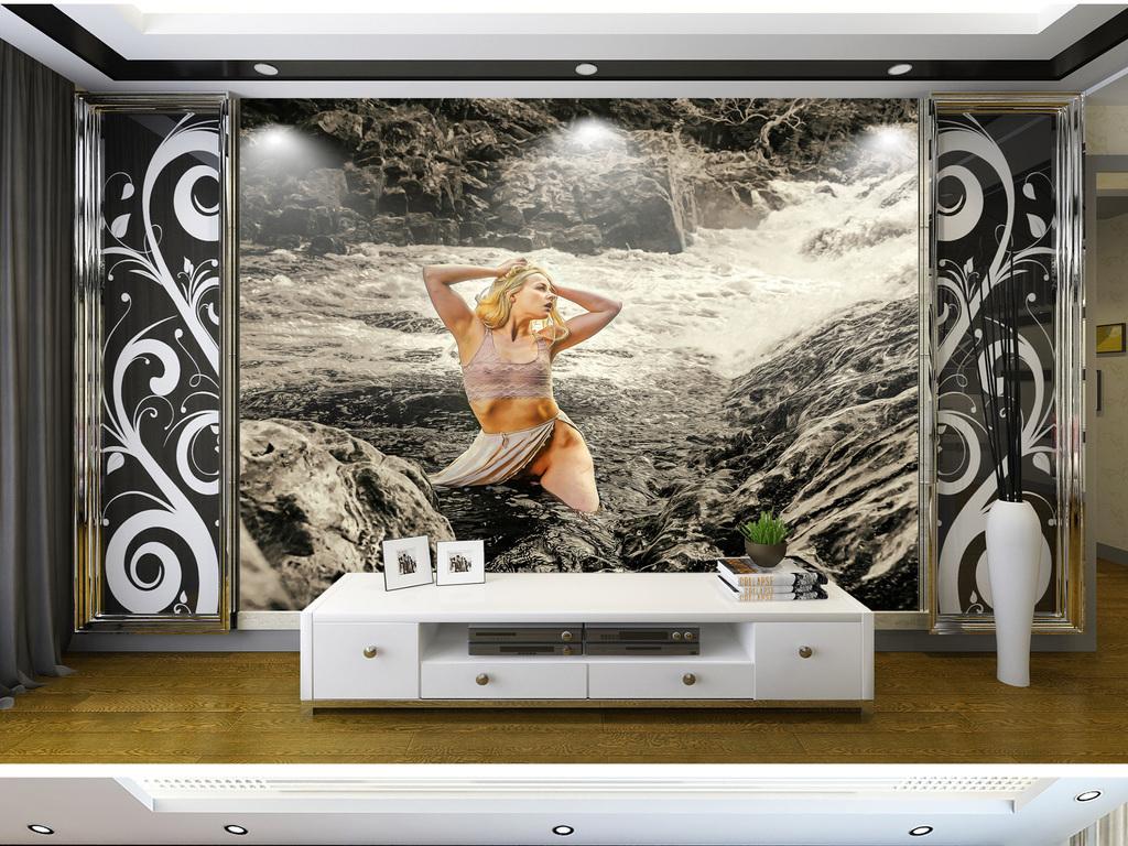 性感女郎河边洗澡图片素材-效果图下载-电视背最性感美女中国是谁图片