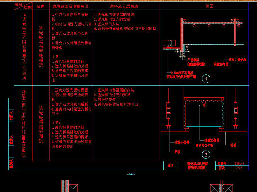 CAD吊顶天花板节点大样图透光板剖面图纸平面设计图下载 图片0.06MB 节点剖面图CAD大全 建筑CAD图纸