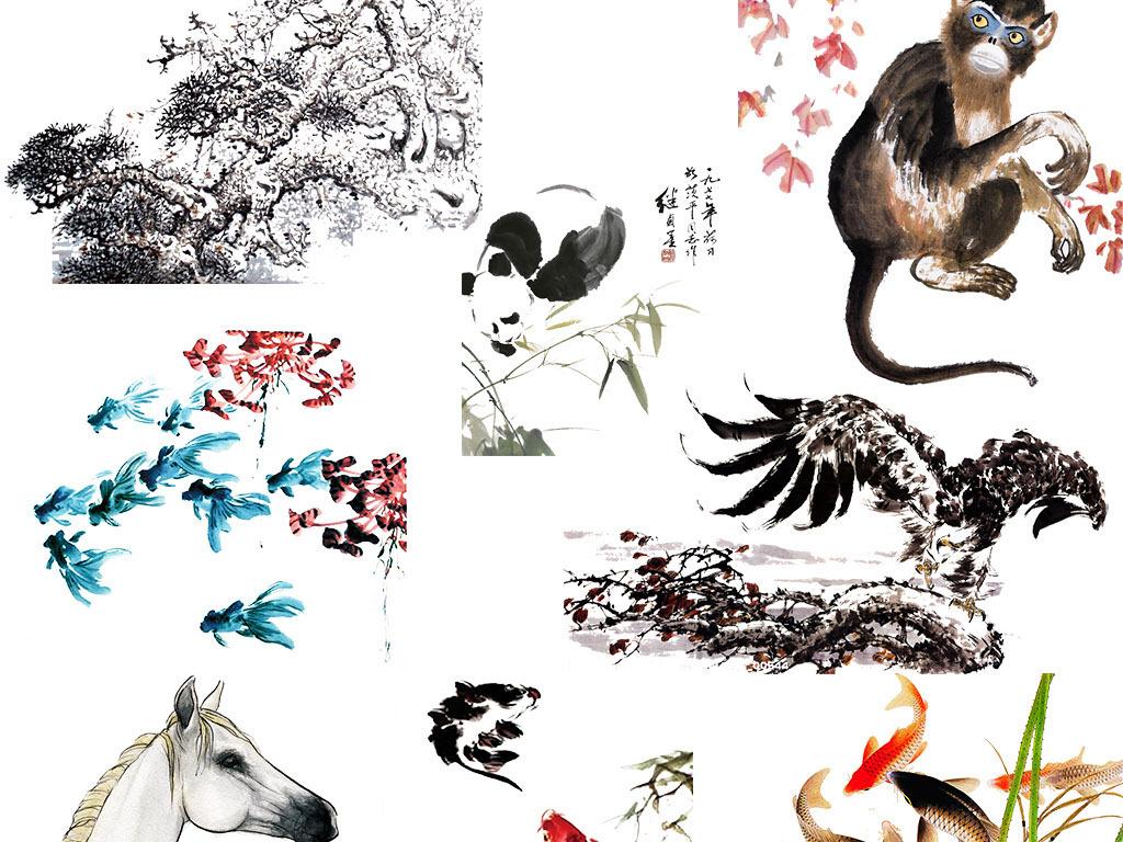 中国风水墨动物千里马仙鹤png透明.