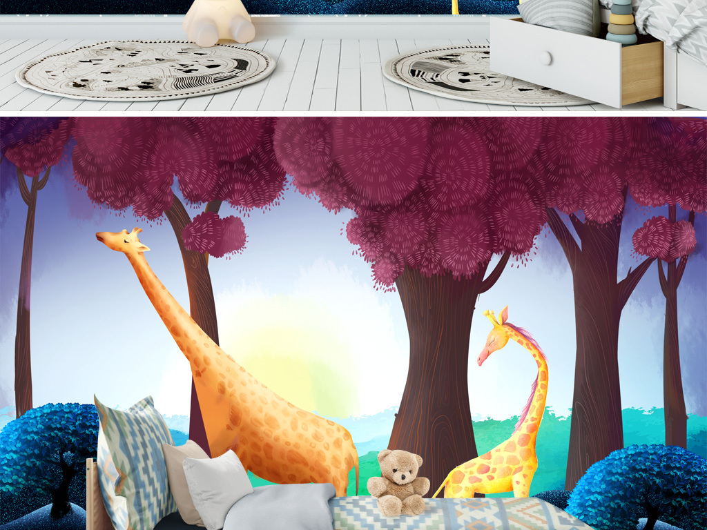 北欧风水彩手绘长颈鹿森林儿童房背景墙壁纸壁图片素材 效果图下载