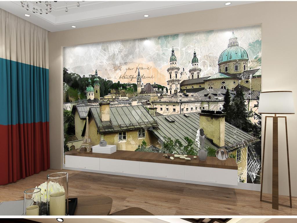手绘欧式西洋画巴黎背景墙装饰画图片设计素材 高清模板下载 22.93MB 电视背景墙大全