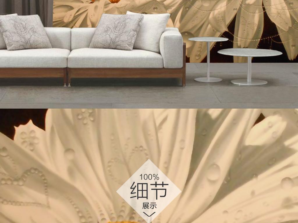 手绘唯美雏菊背景墙壁纸壁画图片设计素材 高清模板下载 75.61MB 客厅电视背景墙大全