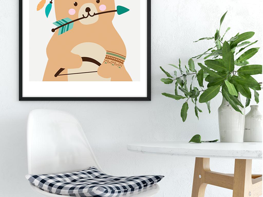 背景墙|装饰画 其他 北欧手绘可爱卡通动物免子熊四联装饰.