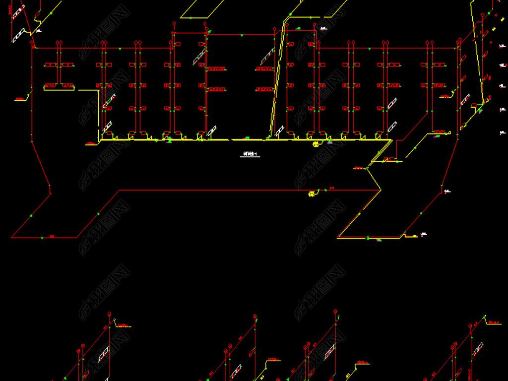 平面办公楼采暖CAD全套设计图烟台招聘室内设计图片
