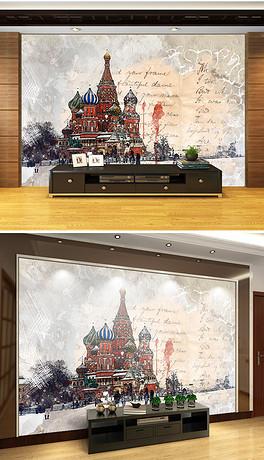 手绘欧式克里姆林宫背景墙装饰画-JPG克里姆 JPG格式克里姆素材图