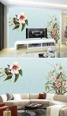 欧式手绘花鸟田园背景墙图片