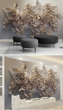 唯美立体浮雕3D花朵蝴蝶电视背景墙