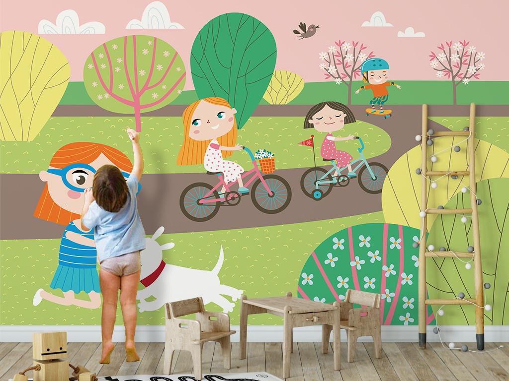 北欧简约唯美卡通儿童房小孩房背景矢.
