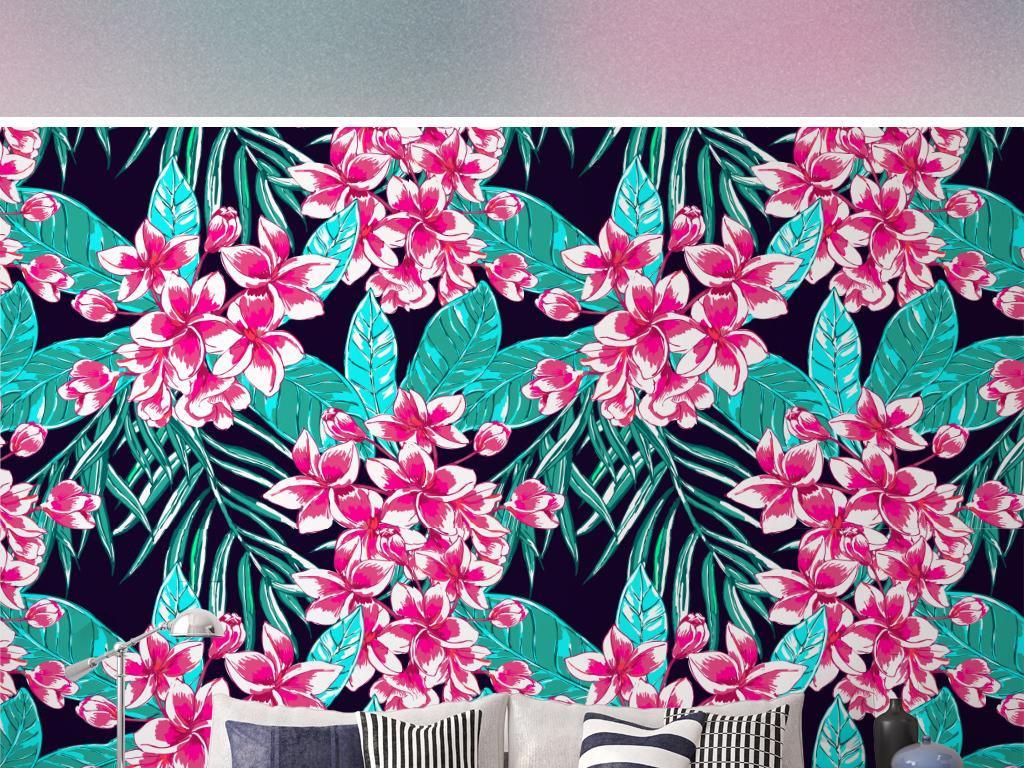 北欧蓝色芭蕉叶植物绿叶手绘背景墙纸