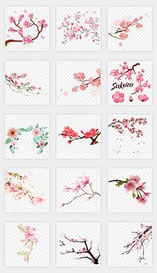 三生三世十里桃花唯美手绘卡通漂亮粉红色树枝动态桃花花瓣飘落